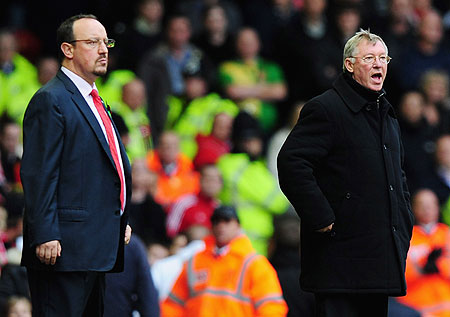 Manchester United Manager Alex Ferguson and Rafael Benitez at the touch line