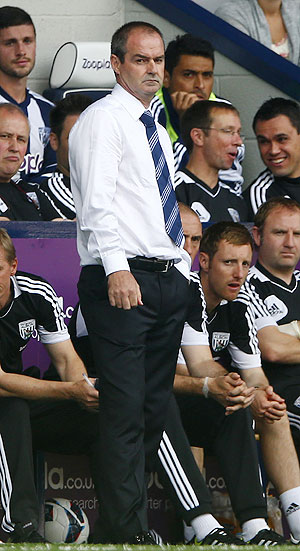 West Bromwich Albion's manager Steve Clarke watches from the sidelines