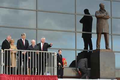 Manchester United's manager Ferguson attends unveiling of his sculpture at Old Trafford stadium in Manchester