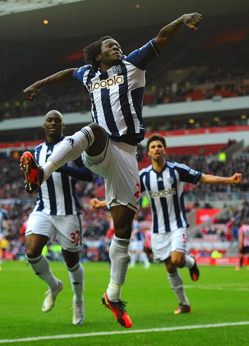 Romelu Lukaku of West Brom celebrates scoring to make it 3-1 during the Barclays Premier League match between Sunderland and West Bromwich Albion