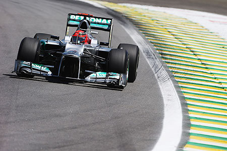 Michael Schumacher of Mercedes GP in action during the Brazilian GP