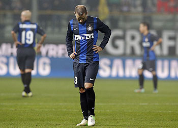 Inter Milan's Rodrigo Palacio (centre) reacts after losing to Parma during their Serie A match at the Tardini stadium on Monday