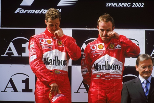 Ferrari ordered Barichello to slow down and alllow Schumi to win