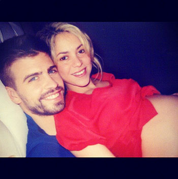 Gerard Pique with pregnant Shakira