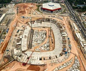An aerial view shows the construction site of the Arena da Amazonia, or Vivaldo Lima Stadium, as it is rebuilt to host the 2014 World Cup, in Manaus