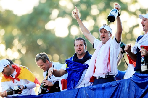 Sergio Garcia, Luke Donald, Graeme McDowell and Ian Poulter of Europe celebrate