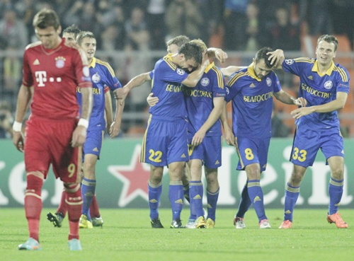 BATE Borisov's Aleksandr Pavlov (third right) is congratulated by teammates