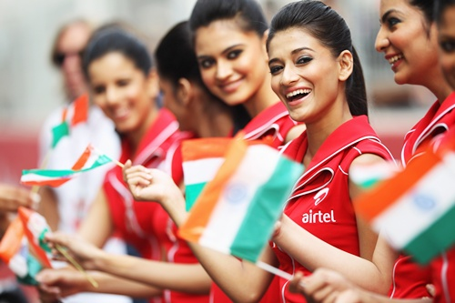Grid girls at the Buddh International Circuit