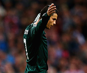 Real Madrid's Cristiano Ronaldo celebrates after he scoring against Ajax Amsterdam on Wednesday