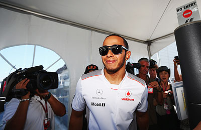 Lewis Hamilton arrives at the Suzuka circuit on Wednesday