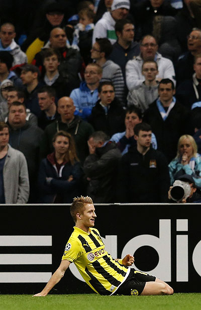 Borussia Dortmund's Marco Reus celebrates after scoring against Manchester City during their Champions League match on Wednesday