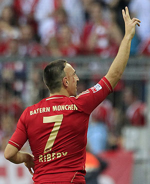 Bayern Munich's Franck Ribery celebrates after his second goal against Hoffenheim on Saturday