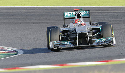 Mercedes's Michael Schumacher drives during the Japanese F1 Grand Prix on Sunday