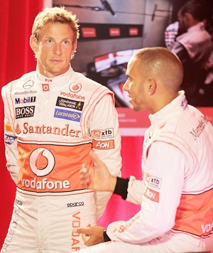 F1 drivers Jenson Button (left) and Lewis Hamilton