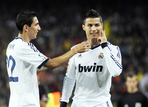 Real Madrid's Cristiano Ronaldo (right) celebrates with teammate Angel di Maria