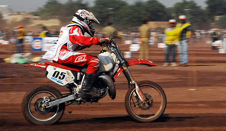 A rider rides during the Dirt Track race on Sunday