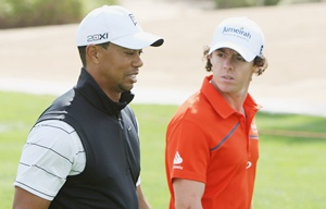 Tiger Woods with Rory McIlroy