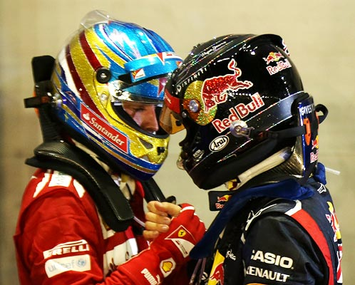 Sebastian Vettel (right) with Fernando Alonso
