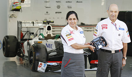 The new principal for the Sauber Formula One team Monisha Kaltenborn (left) and the outgoing team principal Peter Sauber