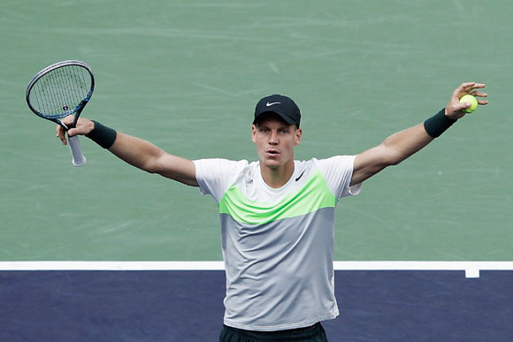 Tomas Berdych of Czech Republic celebrates winning against Jo-Wilfried Tsonga of France