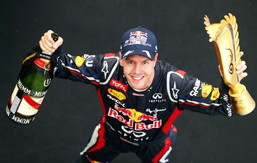 Race winner Sebastian Vettel