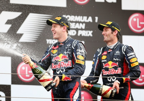 Race winner Sebastian Vettel (left) of Red Bull Racing celebrates   with second placed teammate Mark Webber