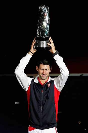 Novak Djokovic with the Shanghai Masters trophy