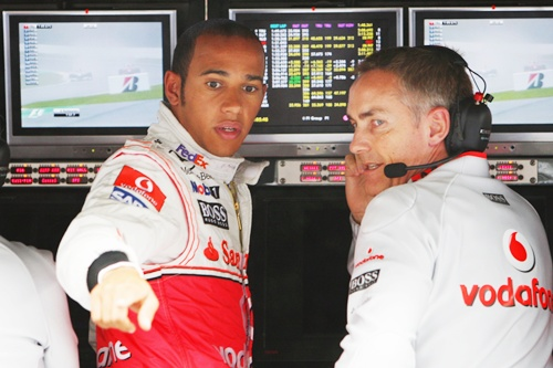 Lewis Hamilton (left) of Great Britain Martin Whitmarsh