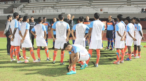Indian national football team during a training session