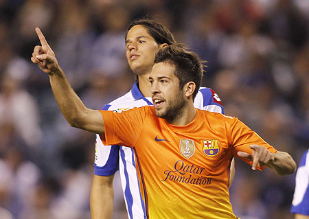 Barcelona's Jordi Alba celebrates his goal against Deportivo Coruna