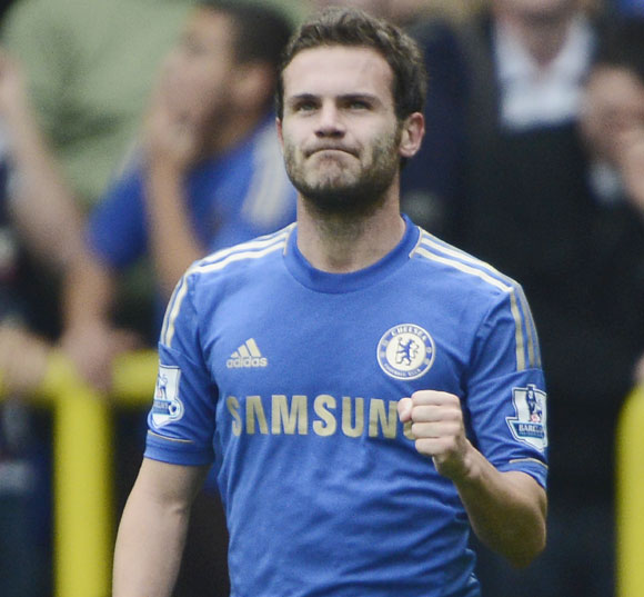 Chelsea's Juan Mata celebrates after scoring a goal against Tottenham Hotspur during their English Premier League match at White Hart Lane