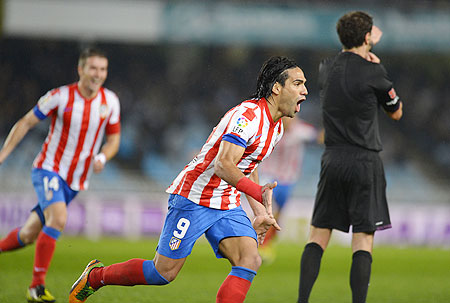 Atletico Madrid's Radamel Falcao celebrates after scoring against Real Sociadad on Sunday