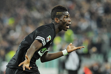 Paul Pogba of Juventus celebrates after netting against Napoli on Saturday