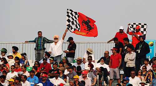 Local race fans turn out for the inaugural Indian Formula One Grand Prix at the Buddh International Circuit