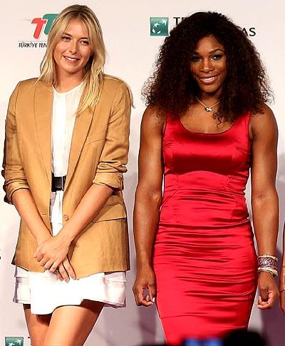 Maria Sharapovan (left) with Serena Williams