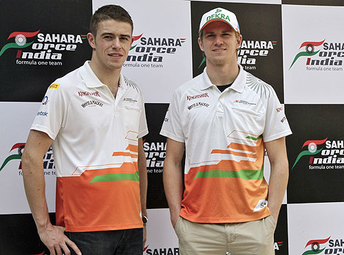 Force India Formula One drivers Nico Hulkenberg (right) and teammate Paul di Resta