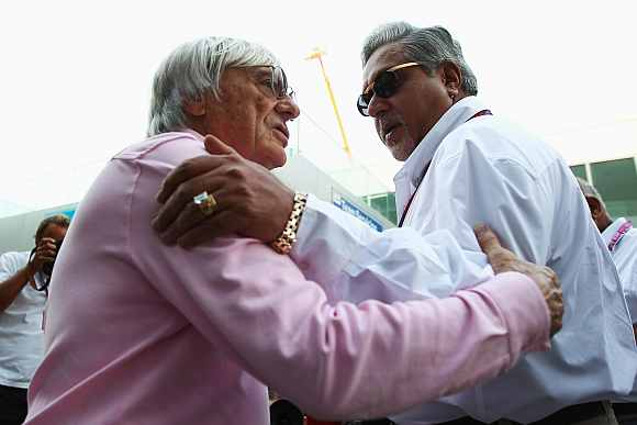 Vijay Mallya (right) with Bernie Ecclestone