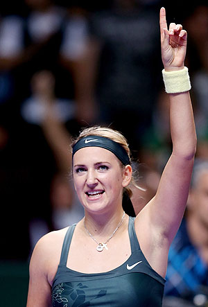 Victoria Azarenka celebrates her win over Na Li of China in round robin play during the WTA Championships in Istanbul on Friday