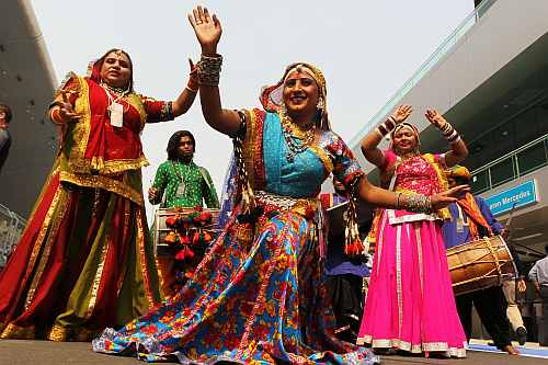 Local dancers perfrom at the Buddh International Circuit