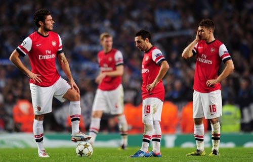 Olivier Giroud, Santi Cazorla and Aaron Ramsey of Arsenal