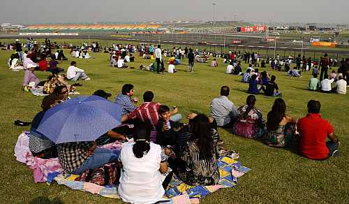 Indian fans watch the action
