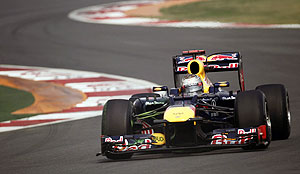 Red Bull Formula One driver Sebastian Vettel of Germany drives during the third practice session of the Indian F1 Grand Prix on Saturday