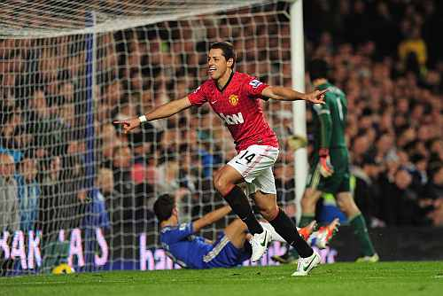 Javier Hernandez of Manchester United celebrates his goal against Chelsea on Sunday