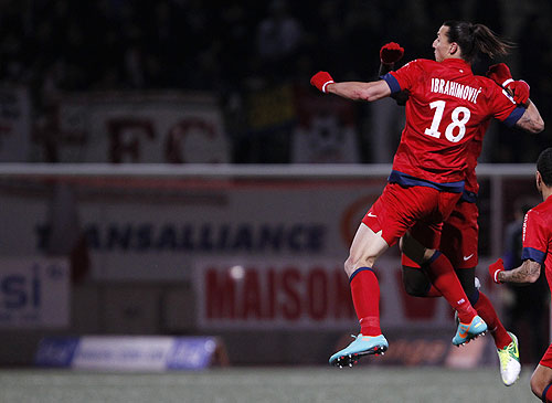 Paris St Germain's Zlatan Ibrahimovic celebrates his goal against AS Nancy on Saturday