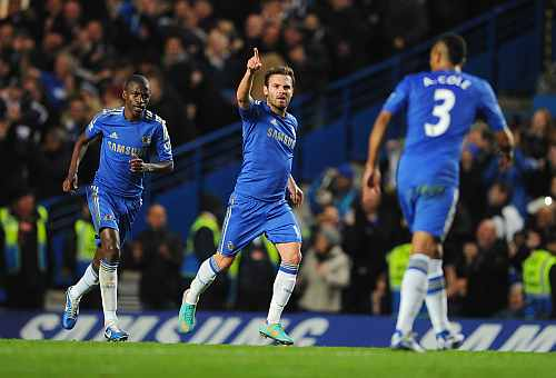 Juan Mata of Chelsea celebrates his goal during the Barclays Premier League match between Chelsea and Manchester United