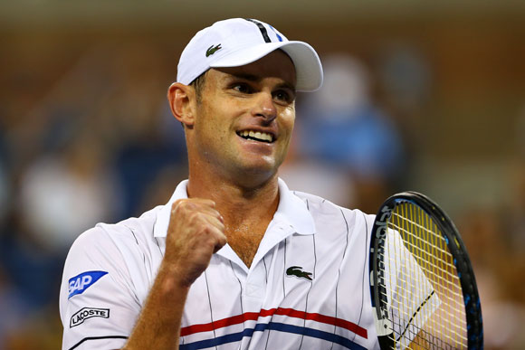 Andy Roddick of the United States celebrates a point during his men's singles second round match against Bernard Tomic of Australia on Day Five of the 2012 US Open