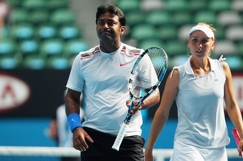 Elena Vesnina of Russia and Leander Paes of India