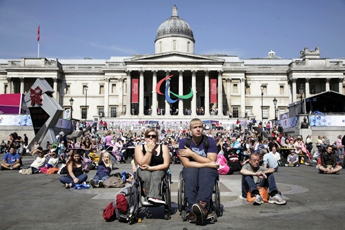 Wheelchair users watch the Paralympic Games