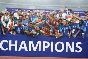 Indian team celebrates after winning the Nehru Cup on Sunday