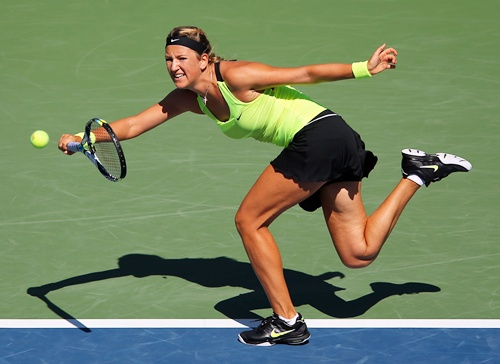 Victoria Azarenka of Belarus returns a shot